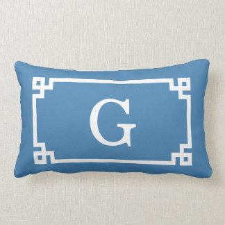 Steel Blue Wht Greek Key Frame #2 Initial Monogram Lumbar Cushion
