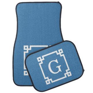 Steel Blue Wht Greek Key Frame 2 Initial Monogram Car Mat