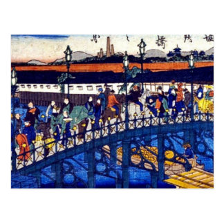 Steel bridge at Higashibori, Osaka by  Osaka, Postcard