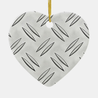 Steel checker plate ceramic heart decoration