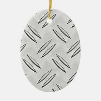 Steel checker plate ceramic oval decoration