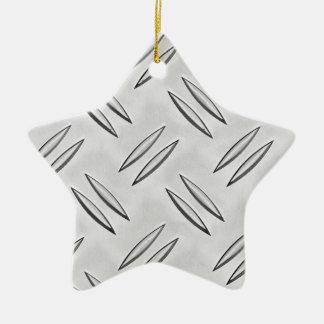 Steel checker plate ceramic star decoration