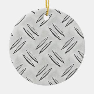 Steel checker plate round ceramic decoration