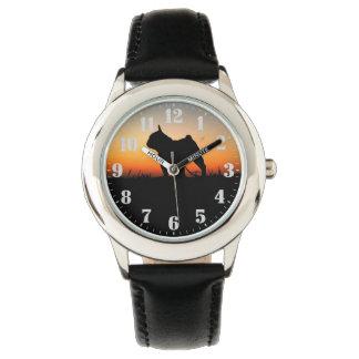 "Steel clock ""Buldog put-pity-sun "" Watch"