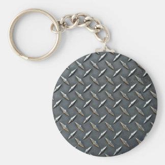 Steel diamond plate basic round button key ring