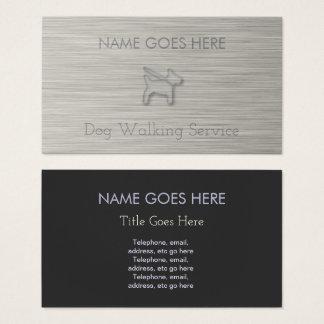 """""""Steel"""" Dog Walker Business Cards"""
