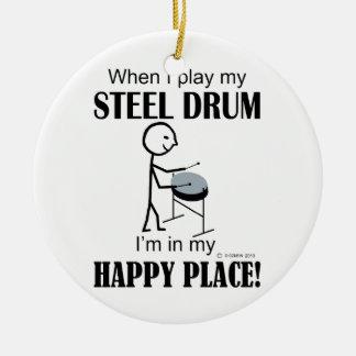 Steel Drum Happy Place Ceramic Ornament