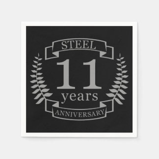 Steel Eleventh wedding anniversary 11 years Disposable Napkin