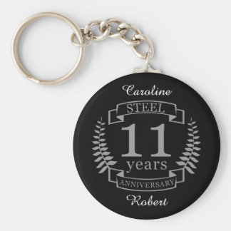 Steel Eleventh wedding anniversary 11 years Key Ring