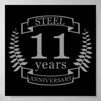 Steel Eleventh wedding anniversary 11 years Poster