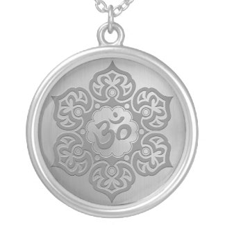 Steel Floral Ohm Design Round Pendant Necklace
