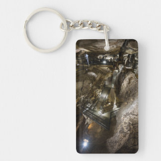 Steel footbridge built inside of an ancient mine key ring