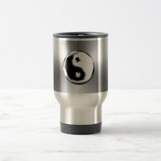 Steel Gradient Graphic Yin-Yang Symbol Travel Mug