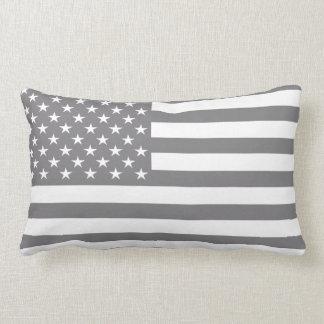 Steel Gray American Flag Lumbar Pillow