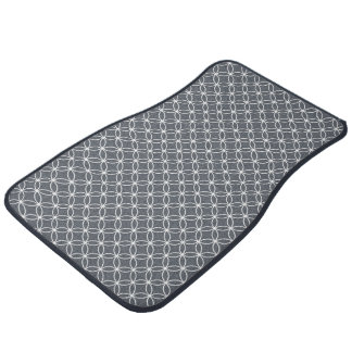 Steel Grey and White Circles Pattern Car Mat