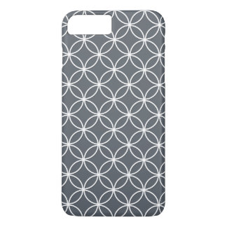 Steel Grey and White Circles Pattern iPhone 7 Plus Case