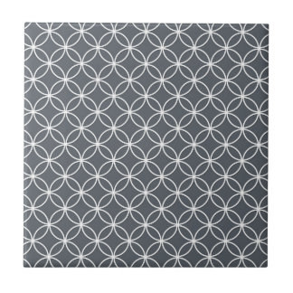 Steel Grey and White Circles Pattern Small Square Tile