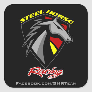 Steel Horse Racing Decal Square Sticker