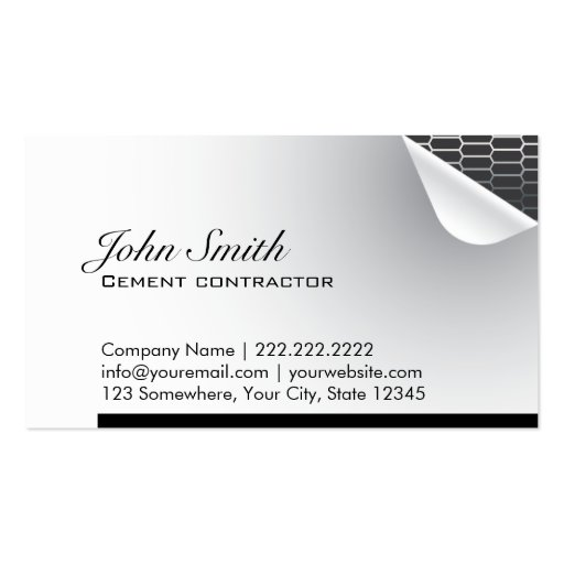Steel Inside Cement Contractor Business Card