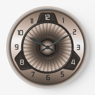 Steel Jet Engine Aviation Large Round Wall Clocks