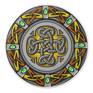 Steel, leather and gems digital image celtic knot ceramic knob