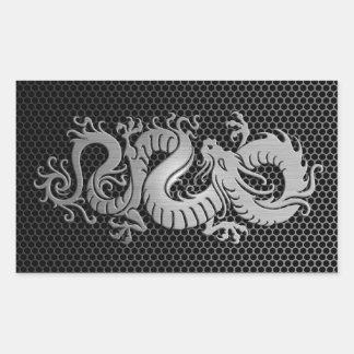 Steel Mesh Chinese Dragon Rectangular Sticker