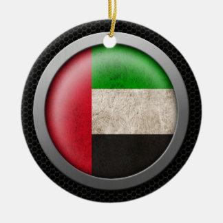 Steel Mesh United Arab Emirates Flag Disc Graphic Ceramic Ornament