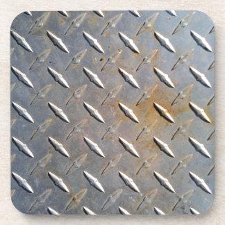 Steel metal diamond pattern grey and rusty coaster