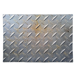 Steel metal diamond pattern grey and rusty placemat
