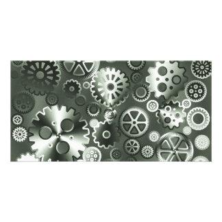 Steel metallic gears personalized photo card