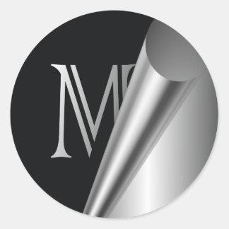 "Steel Peel Monogram ""M"" Classic Round Sticker"