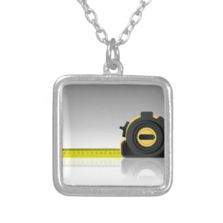 steel ruler silver plated necklace