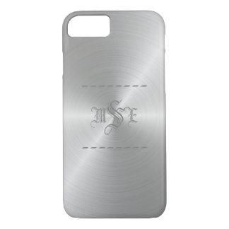 Steel/Silver Faux Metal Monogrammed iPhone Case