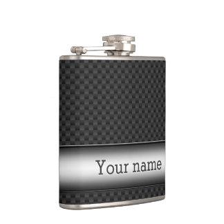 Steel striped carbon fiber hip flask