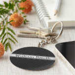 Steel striped carbon fibre basic round button key ring