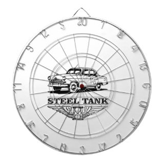 steel tank cars dartboard with darts
