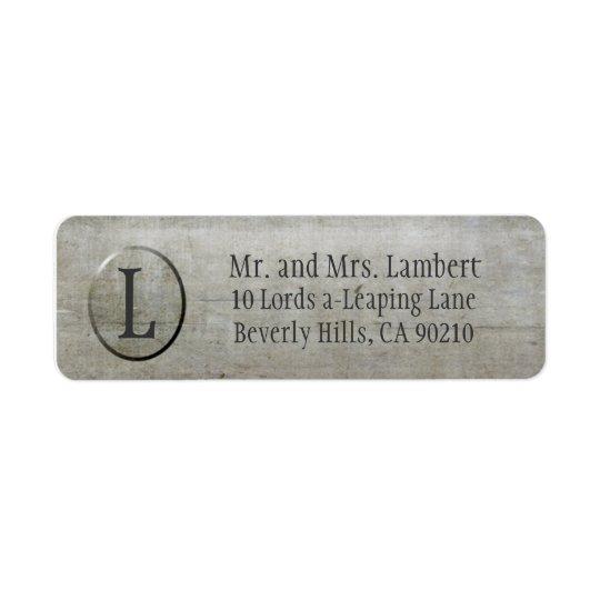Steel Texture Monogram Customisable Return Address Label