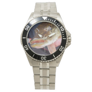 Steel watch and band with pike photo.