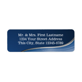 Steel Wave Blue Return Address Label