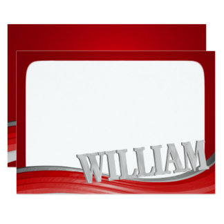 Steel Wave Red with Name William Flat Note Card