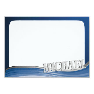 Steel Wave with Name Michael Flat Note Card