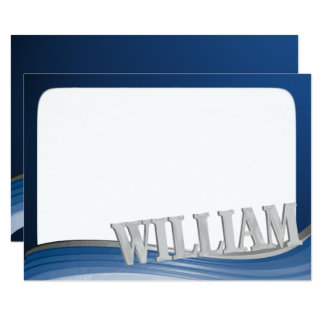 Steel Wave with Name William Flat Note Card
