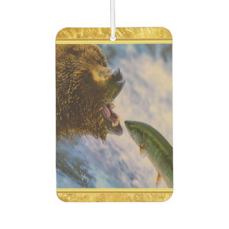 Steelhead salmon jumping into grizzly bears mouth car air freshener