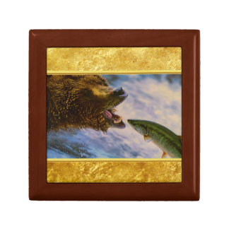 Steelhead salmon jumping into grizzly bears mouth gift box
