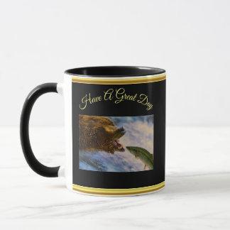 Steelhead salmon jumping into grizzly bears mouth mug