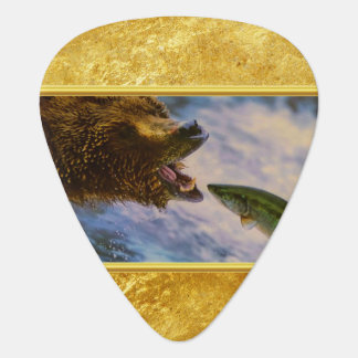 Steelhead salmon jumping into grizzly bears mouth plectrum