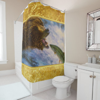 Steelhead salmon jumping into grizzly bears mouth shower curtain