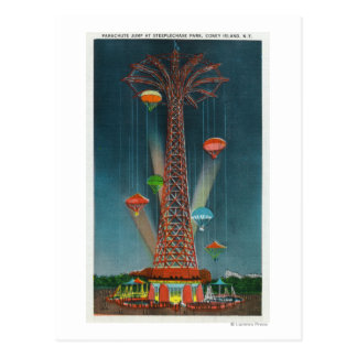 Steeplechase Park Parachute Jump View at Night Postcard