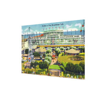 Steeplechase Park View of Pavilion of Fun Gallery Wrapped Canvas