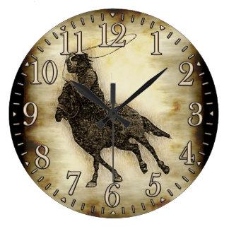 Steer Roping Rodeo Cowboy Large Clock
